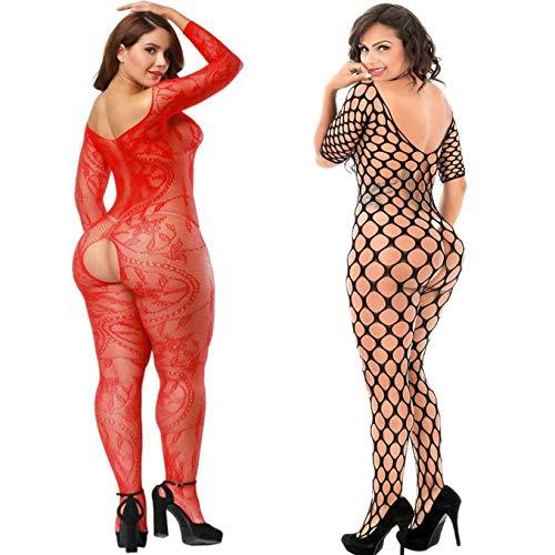 ecd9610e0b6 LOVELYBOBO 2 Pack Womens Striped Lingerie Sheer Fishnet Crotchless  Bodystockings Bodysuits Teddy Nightie Leotard Tights Black