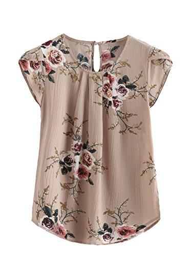 Milumia Women's Casual Round Neck Basic Pleated Top Cap Sleeve Curved Keyhole Back Blouse (XL/US 10, Multicolor-Camel)