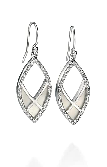 Fiorelli Silver Women's Clear CZ Pave Open Marquise Pattern Earrings CDfxHz