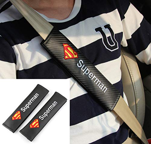 Vestian 2X Carbon Fiber Sport Racing Seat Belt Cover Shoulder Pad Cushion with Superman for Challenger Charger Racing