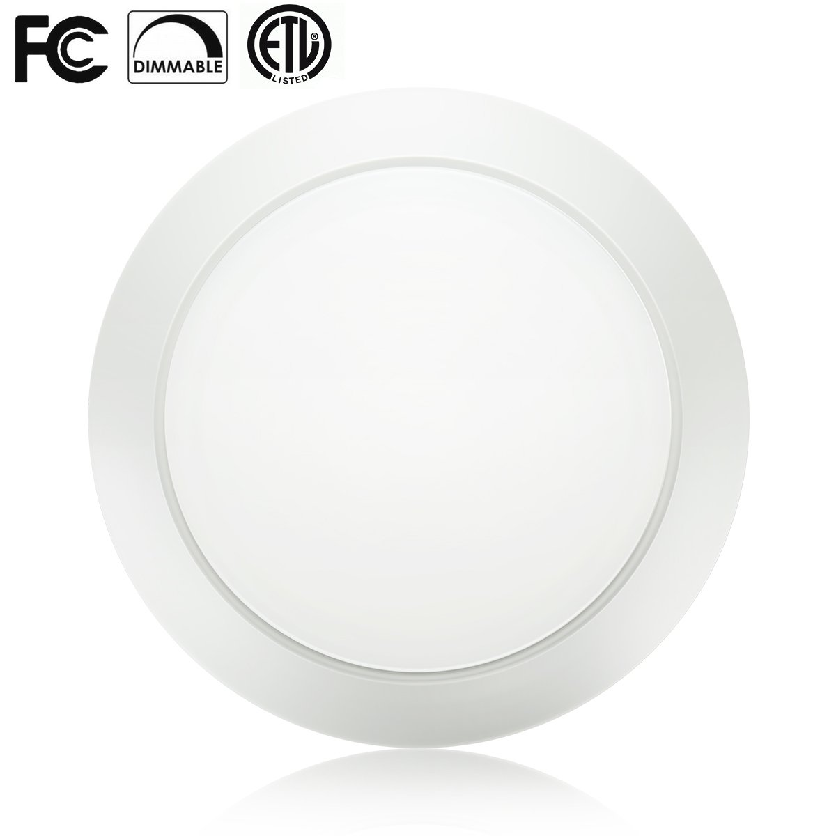 Dimmable LED Disk Light Flush Mount Ceiling Fixture with ETL FCC Listed, 7.5 inch,950LM, 15W (90W Equiv.), Warm White, 3000K, White Finish, Ultra-Thin, Round LED Light for Home, Hotel, Office