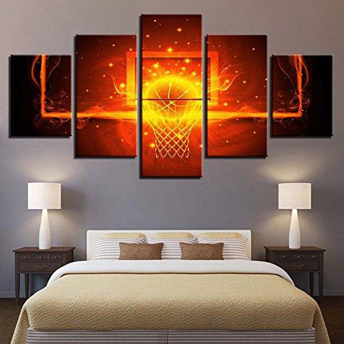 Affiche Toile modulaire Cadre Art Mural 5 Pièces feu Cercle de Basket-Ball Panneau Peinture Abstract Photos Home Decor,Medium Size