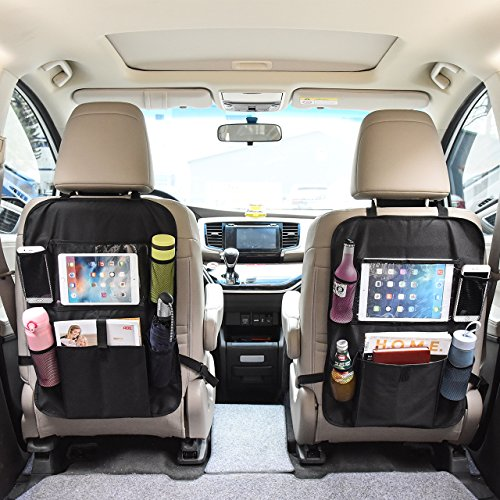 OMORC Car Seat Back Organizer with Tablet Holder Seat Back Protector Car Backseat Organizer for Baby Travel Accessories and Kids Toy Storage(2 Pack) (Car Window Organizer)