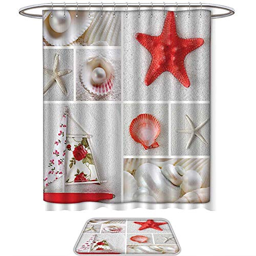 QINYAN-Home Shower Curtain Set Ocean Nautical Theme Objects Collage Seashells Starfish Scallop Pearl Sailboat Summertime Red Coconut. Shower Curtain and Floor mat Set(Ten Sizes Select)
