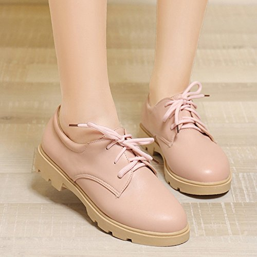 Shoes Round Lace Platform up Summerwhisper Top Casual Oxfords Low Low Pink Heel Toe Womens YqE74x6