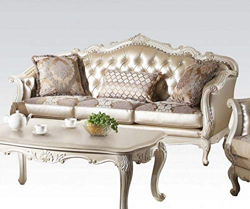 ACME Chantelle Rose Gold and Pearl White Sofa with 3 Pillows