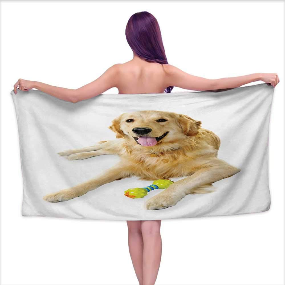 Onefzc Bath Towel Golden Retriever Pet Dog Laying Down with Toy Friendly Domestic Puppy Playful Companion Super Soft Highly Absorbent W63 x L31 Multicolor