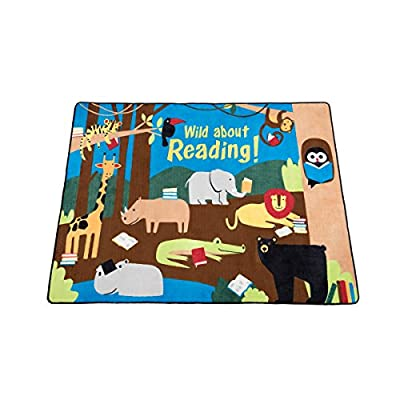 Guidecraft Kids Wild About Reading Carpet - Animal Jungle Themed Soft Rug