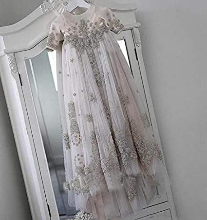 Michealboy Christening Long Gowns Sleeves Baptism Dresses Blush Pink Crystal Lace Applique