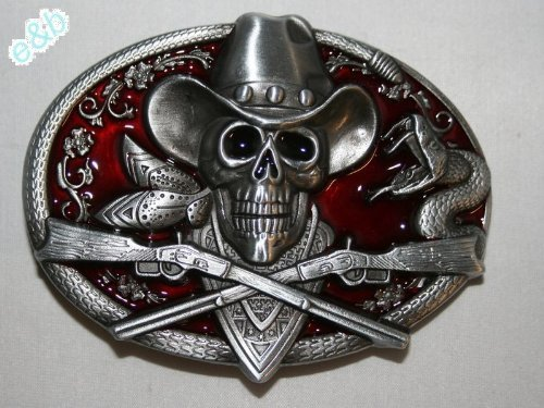 Brand:e&b Western Ghost Skeleton Cowboy Skull Guns Belt Buckle Sk-036rd ()