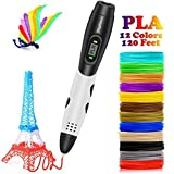 3D Pen with LCD Screen, DigiHero 3D Printing Pen with 1.75mm PLA Filament Pack of 12 Different Colors, Each Color 10 Feet, 3D Print Pen is Perfect Gift for Kids, Adults
