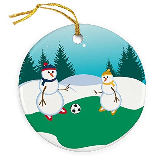 ChalkTalkSPORTS Soccer Porcelain Ornament | Kickoff Snowman Dad Christmas Ornament ()