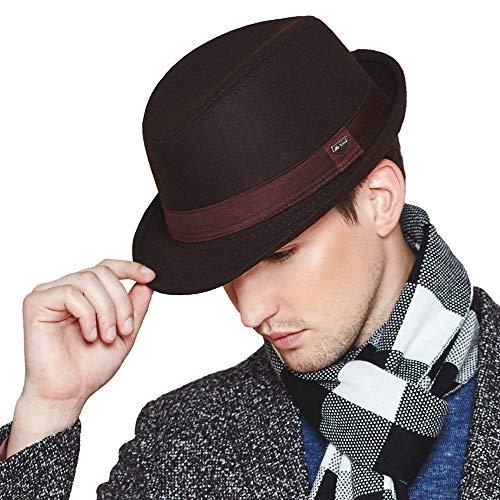 Erigaray Mens Classic Wool Felt Fedora Hats for Men in Black,Grey,Dark ()