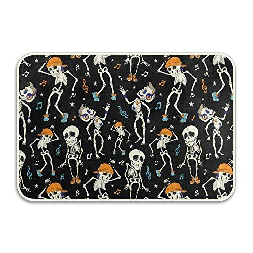 Funny Dancing Skeletons Skulls Party Halloween Music Disco Indoor/Outdoor Doormat Anti-Skid Entrance Rug Floor Mat Home Decor Outside Doormat 16 X 24 -