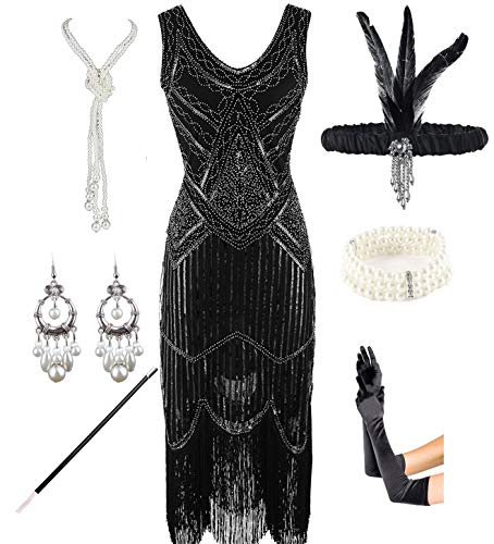 1920s Gatsby Sequin Fringed Paisley Flapper Dress with 20s Accessories Set (XL, Black)