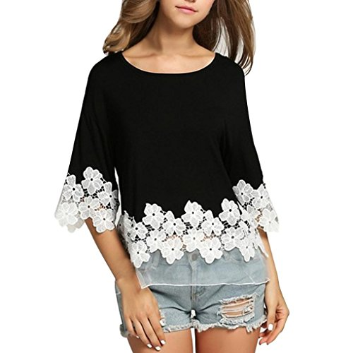 Lace Blouse,Han Shi Womens Sexy Casual Patchwok Floral Long Sleeve T-shirt Tops Tanks (M, Black)