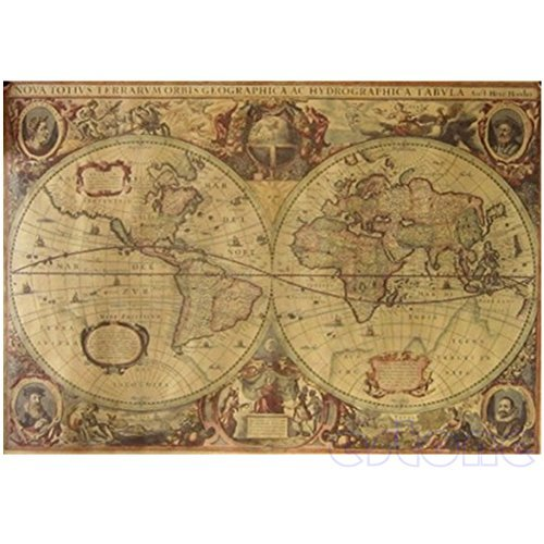 Poster World Map Old (Hunulu 71x50cm Retro Vintage Globe Old World Map Matte Brown Paper Poster Decor Compass Map)