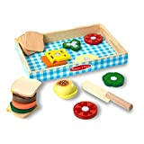 Melissa & Doug Sandwich-Making Set (Wooden Play Food, Wooden Storage Tray, Materials, 16 Pieces, Great Gift for Girls and Boys - Best for 3, 4, and 5 Year Olds)