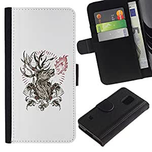 Billetera de Cuero Caso Titular de la tarjeta Carcasa Funda para Samsung Galaxy S5 V SM-G900 / Deer Antlers Axe Manly Fire Forest / STRONG