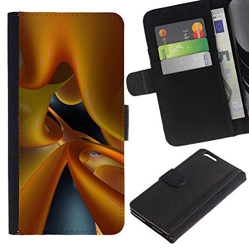 """WonderWall (Pas IPHONE 6, 4.7"""") Fond D'Écran IMAGE CARTES FENTES EN PORTEFEUILLE FLIP CUIR RIGIDE COQUE HOUSSE FINE ETUI CASE POUR Apple Iphone 6 PLUS 5.5 - vitreuse dynamique liquide jaune 3d art"""
