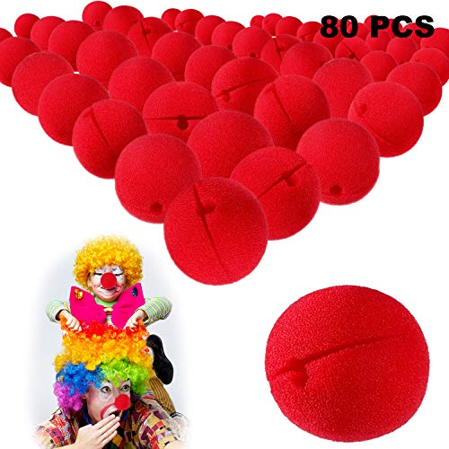 Gejoy 80 Pieces Red Clown Noses Foam Clown Noses Cosplay Red Clown Nose for Halloween Christmas Costume Party]()