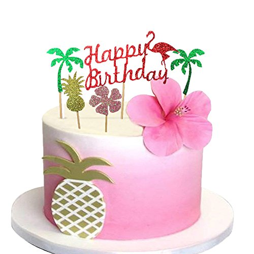 Glitter Luau Cake Topper Flamingo Happy Birthday Cake