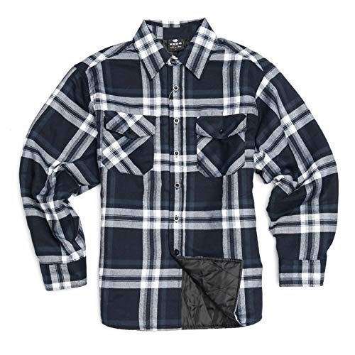 YAGO Men's Quilted Lined Long Sleeve Flannel Plaid Button Down Shirt (J2, Navy/White, 2X-Large) ()