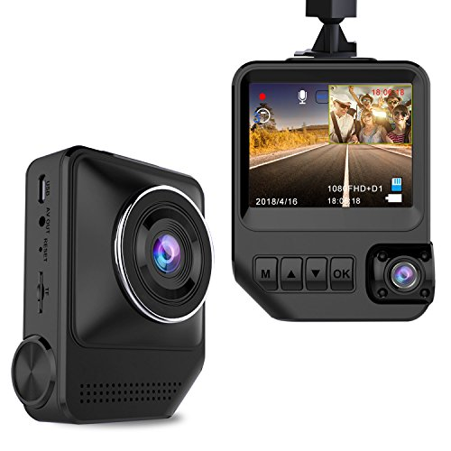 Dash Cam Dual Cameras for Cars 1080P Front and 720P Rear Cameras Car Camera 2.3″ LCD 170° Wide View Angle Night Vision Dashboard Camera with G-Sensor, Loop Recording, WDR, Parking Mode