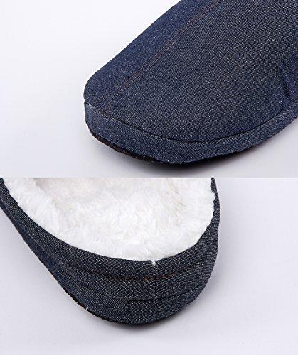 Maamgic Hombres Fuzzy Slip On Slippers Señoras Cute Bedroom Indoor Winter Slippers Navy