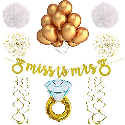 White and Gold Bachelorette Party Decorations and Accessories. For a Classy Bridal Shower or Engagement Party. With a Stunning Miss to Mrs Banner!]()