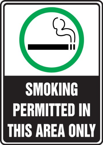 "Accuform MSMK538VA Aluminum Safety Sign, Legend ""SMOKING PERMITTED IN THIS AREA ONLY"" with Graphic, 10"" Length x 7"" Width, Green/Black on White"