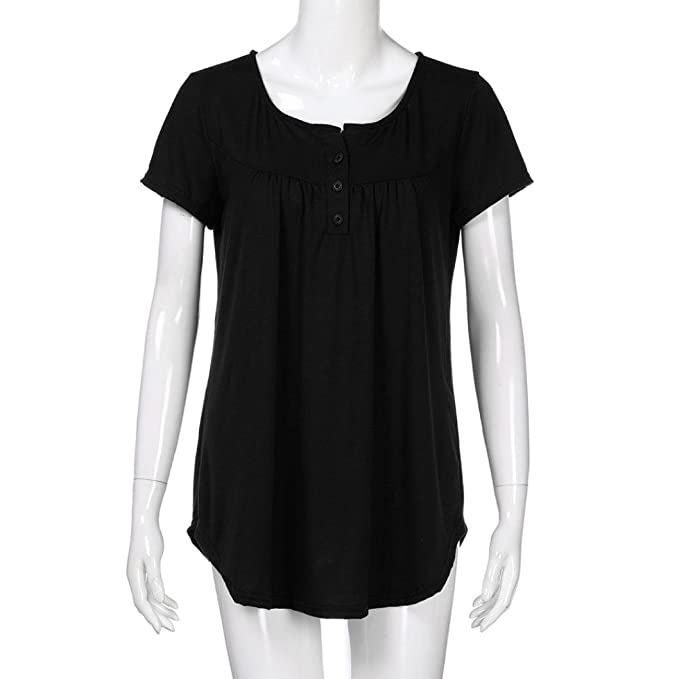Amazon.com: DondPO Womens Short Sleeve T-Shirt Solid Row Pleats Button Ruched O-Neck Casual Blouse Summer Clothes Loose Work T-Shirt: Clothing