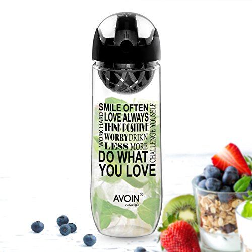 AVOIN colorlife Fruit Infusion Sports Water Bottle with 2nd Generation Premium Infuser & One-Click Flip Top - 32oz Large, BPA Free - Your Healthy Hydration Made Easy