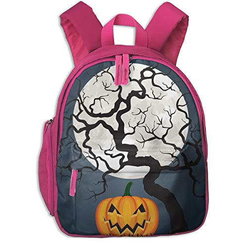 (Halloween Pumpkin And Tree Double Zipper Waterproof Children Schoolbag With Front Pockets For Youth Boy)