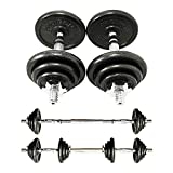 PROIRON 20kg Cast Iron Adjustable Dumbbell Set Hand Weight Solid Dumbbell Handles Changed into...