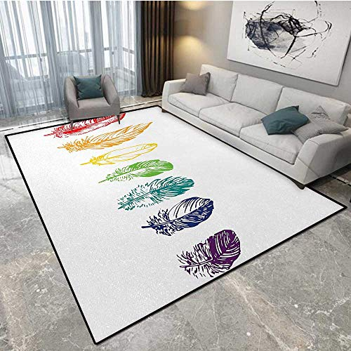 (Nature cat Carpet Collection of Ink Drawing Style with Rainbow Feathers Natural Artwork Print Carpet rake pet Hair 6'x9' (W180cm x L270cm Red Green)