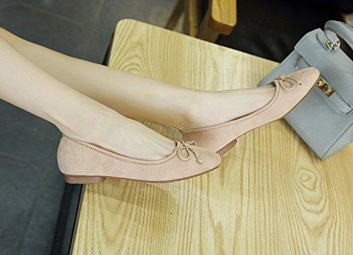 Aisun Damen Quadratische Zehe Schleife Low Top Flach Slip On Ballerinas Beige