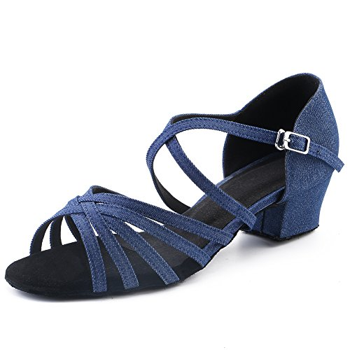 LOVELY BEAUTY Lady's Ballroom Dance Shoes for Chacha Latin Salsa Rumba Practice,Blue Denim, 1.6