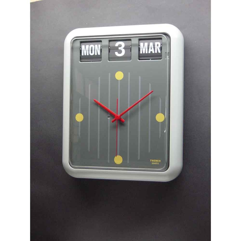 TWEMCO トゥエンコ デジタルカレンダークロック パタパタ時計 置き掛け兼用 イギリス バークレイ銀行モデルbq-12 グレー B01M3SVSMVグレー