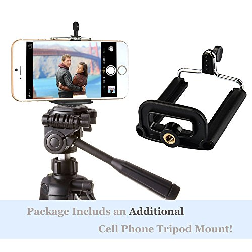 Vastar 2-in-1 Universal Tablet iPad Tripod Mount Adapter + Cell Phone Mount Adapter Holder Clamp, for iPad 2 3 4, iPad Air 1 2, iPad Mini 1, 2, 3, Samsung Galaxy Tab 2 3 4, Tab Pro, Tab S, Microsoft Surface, Google Nexus and for iphone 6 6 plus 5 5s 5c 4