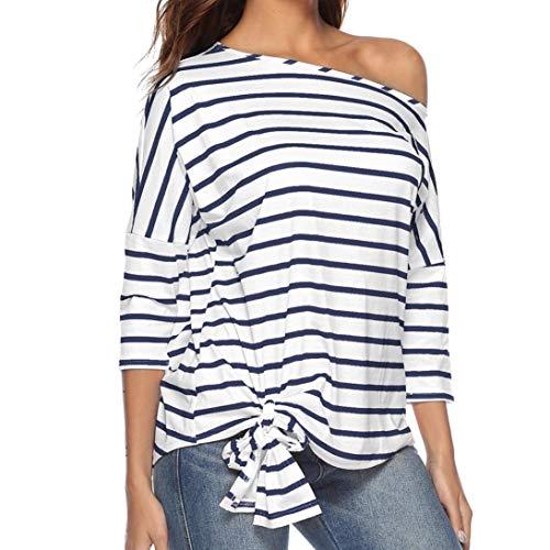 Sept Femmes Blouse Shirt Bandage LaChe Pull Hiver Manches Rayures Et Automne Chemise Longues Innerternet Bleu Casual Pull 0dwxTx4