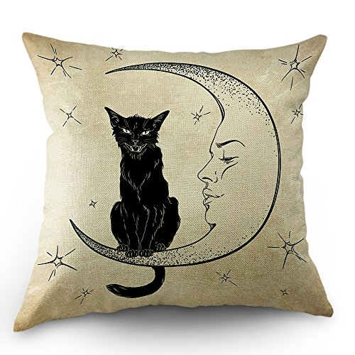 Moslion Cats Moon Throw Pillow Cover Pillow Case Black Cat Sits on The Moon Face Star Cotton Linen Pillow Case 18 x 18 Inch Cushion Cover for Sofa Living Room Light Brown ()