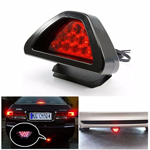 Alonea Universal F1 Style 12 LED Red Rear Tail Third Brake Stop Safety Lamp Light Car (As - F1 Light