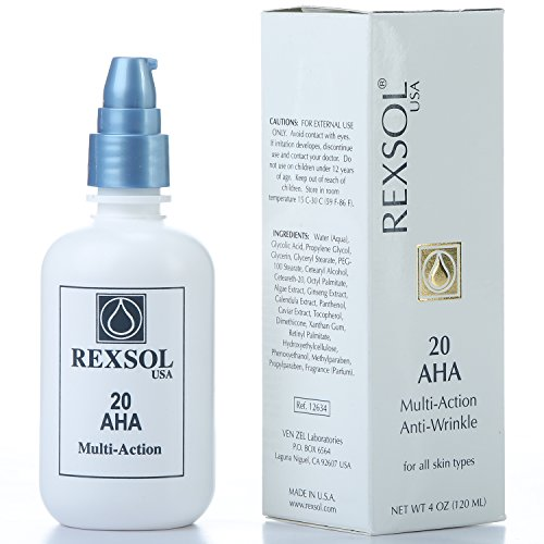 (REXSOL 20 AHA Multi-action Anti-Wrinkle Cream | With Vitamin E, Algae Extract, Ginseng Extract, Calendula Extract, Caviar Extract | Diminishes appearance of fine lines & wrinkles. (120 ml / 4 fl oz))