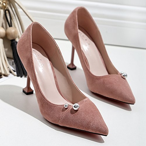 singolo luce i delle con 38 scarpe bene tacchi bare cm 9 calzature donna alti selvatici nera calzature raso con Punta rosa scarpe la professionali zvnH0H6S