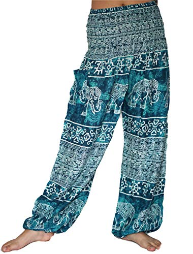 vvProud Bohemian Clothes Smocked Waist Elephant Stamp Prints Harem Pants, Perfect Yoga, Men, Women, One Size Fits Most (Tie-Dye (Smocked Tie Dye)