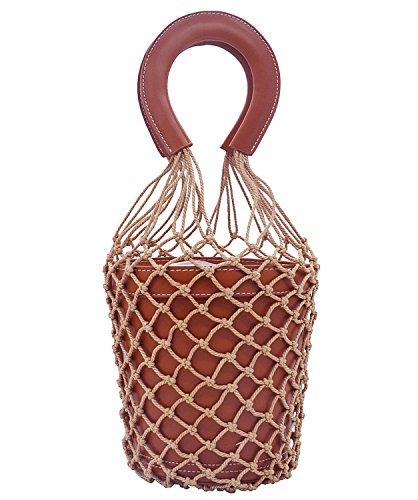 (Miuco Women Nets Bucket Handbags Straw Tote Bag Purses)