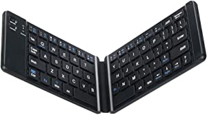 Portable Bluetooth Folding Keyboard for iPad, Mini Keyboard, Wireless Keyboard Compatible for Tablets, Mini Bluetooth Keyboard for Traveling and Business, Black