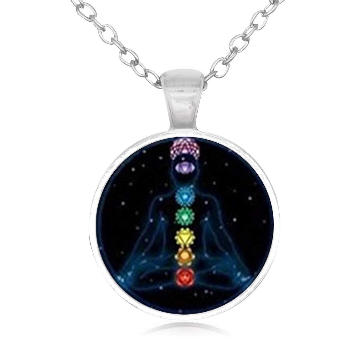 Lightrain Reiki Chakra Healing Yoga Pendant Necklace Vintage Bronze Chain Statement Necklace Handmade Jewelry Gifts