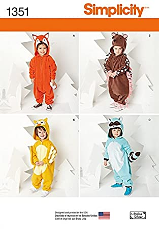Amazon.com: Simplicity Childrens Easy Sewing Pattern 1351 Novelty ...
